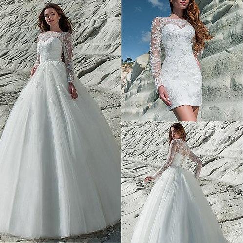Fantastic Tulle & Lace Bateau Neckline 2 in 1 Wedding Dress Lace