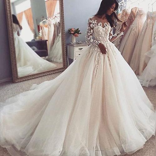 Long Sleeve Wedding Dress Train Lace Applique Flowers
