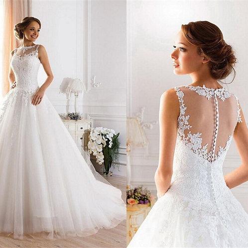 Lace White Ivory A-Line Wedding Dress