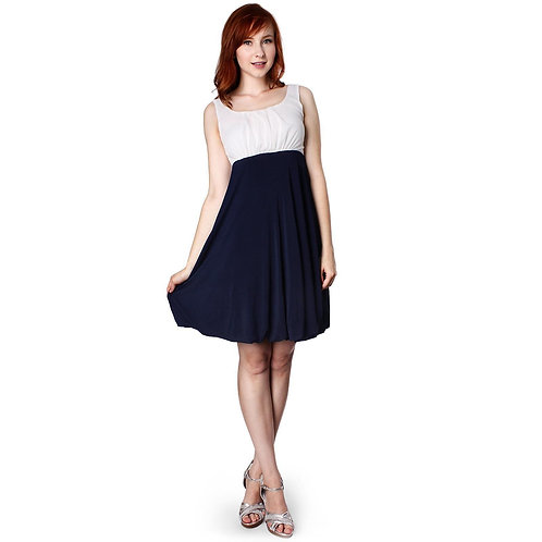 Evanese Women's Inverted Pleat Top Bubble Skirt Short a Line Cocktail Day Dress