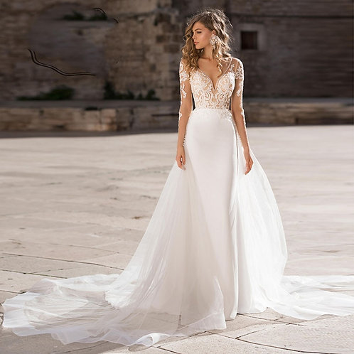 Wedding Dress Elegant Lace Appliques Bridal Gown