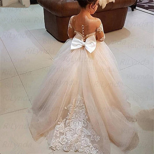 Puffy Ivory Tulle Lace Ball Gown Flower Girl Dress