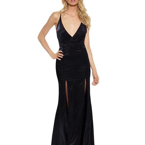 Satin Evening Dress With Front Splits - Black