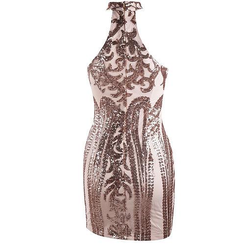 Embellished Gold Sequin Short Dress