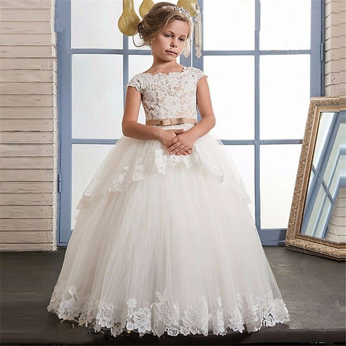 New Flower Girls Dresses  Lace Appliques Beading Dresses