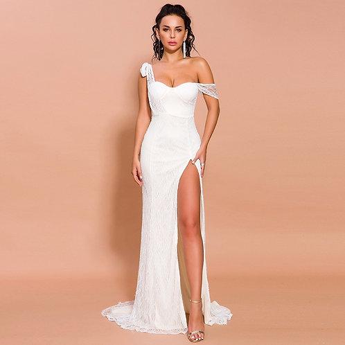 Vanessa Ivory Slit Gown