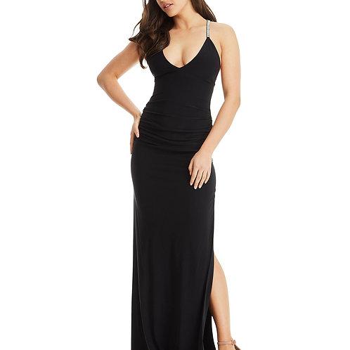 Cross Strap Evening Dress - Black
