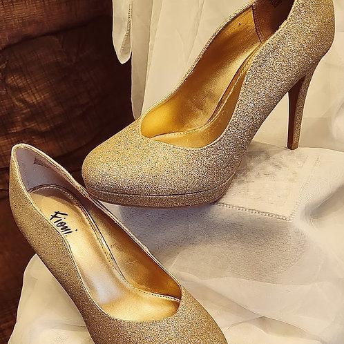Fioni Gold sparkle pumps ,4 inch heels