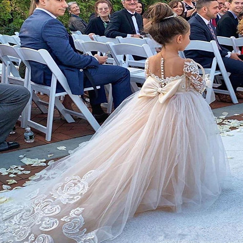 Classic Tulle Flower Girl Dress With Bow Lace Appliques