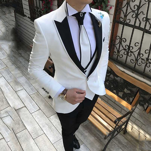 White Suits for Men WeddingTuxedo Peaked