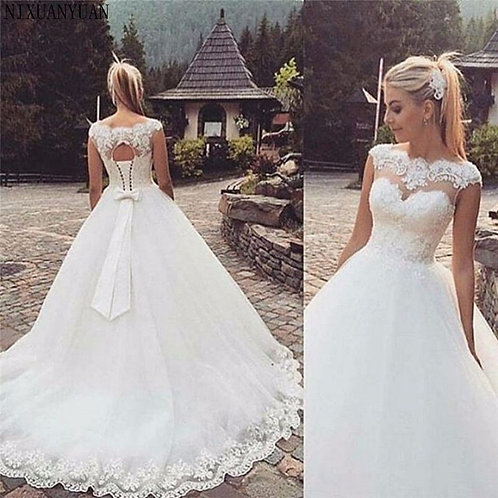 Cap Sleeve Wedding Dress Open Back