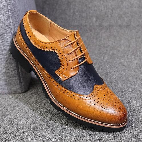 Oxford Shoes Men Brogues Shoes Lace-Up Bullock  Wedding