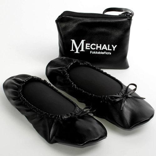 Mechaly Women's Vegan Leather Foldable Flats Black