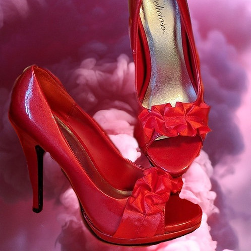 Red 5 inch platform shoes satin ruffle