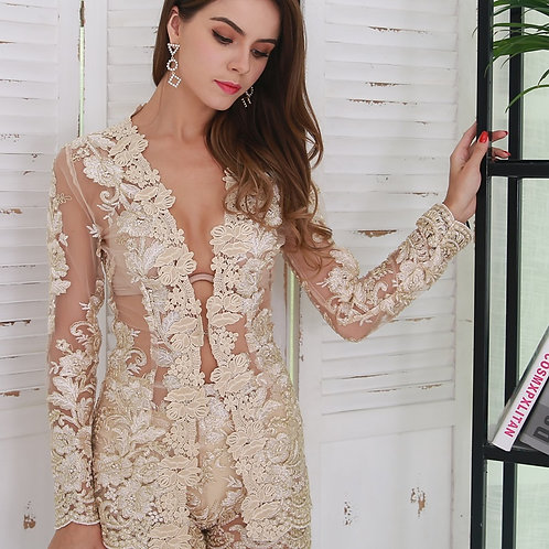 Gold Embroidered Two Piece Set