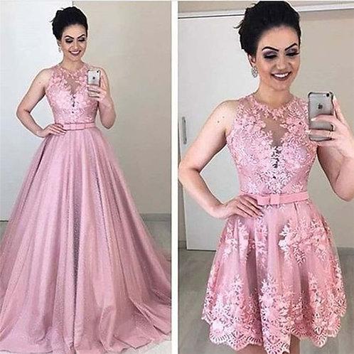O-Neck A-Line Wedding Dresses With Detachable Train Lace Appliques  Two Piece