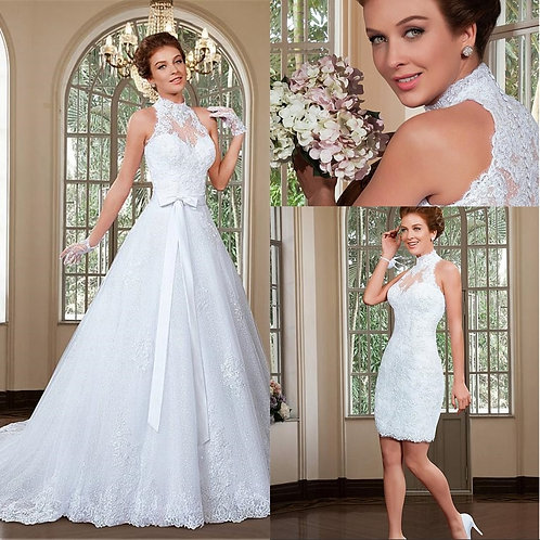 Fabulous Tulle Halter 2 in 1 Wedding Dress With Detachable Train