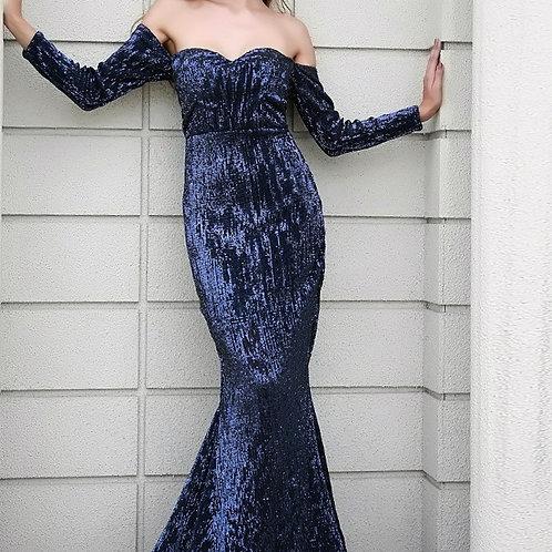 Navy Off Shoulder Sequin Gown