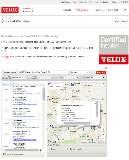 Velux Certified Installers Oxfordshire