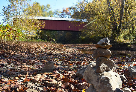 Hune Covered Bridge with Rock Pile Route
