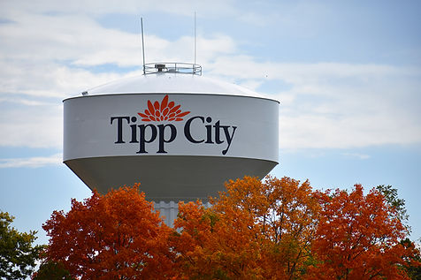 Tipp City Water Tower with Orange Tree.j