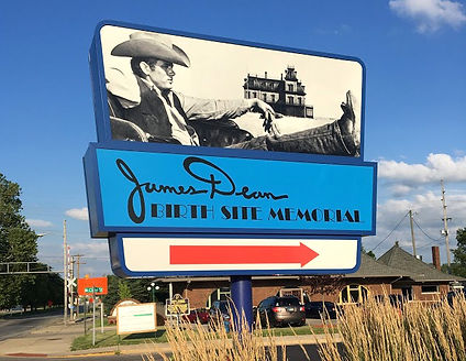 James Dean Birthplace Memorial Sign in M