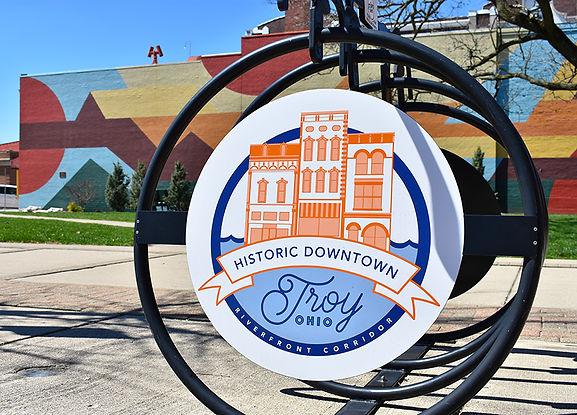 Downtown Troy Bike Rack with Mayflower W