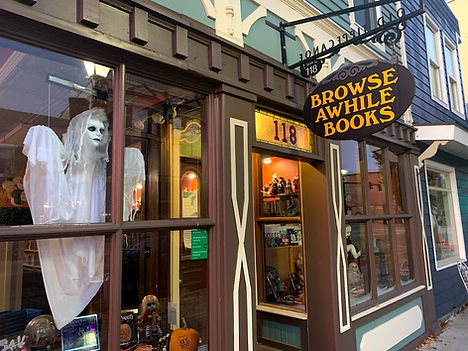 Browse Awhile Books with Ghost in Window