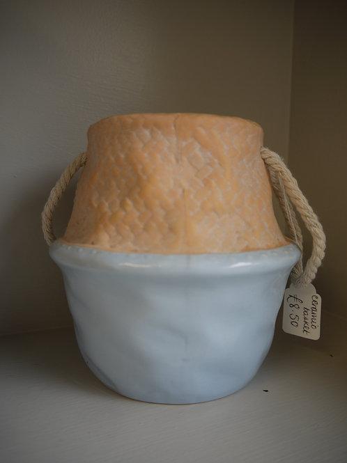Ceramic Basket Pot - Blue