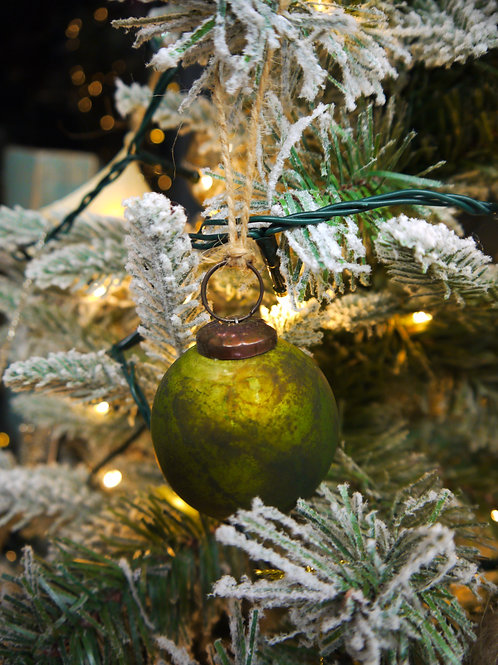 Rustic Green Round Glass Bauble