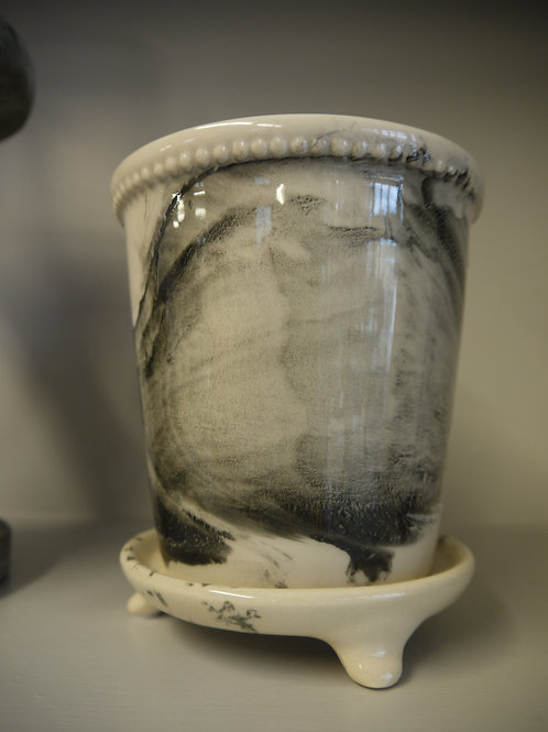 Black and White Marble Effect Ceramic Pot with Dish
