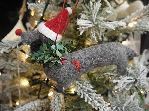 Wool Christmas Animal Decoration - Douglas Dashund