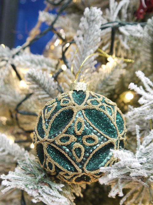Green & Gold Ornate Bauble