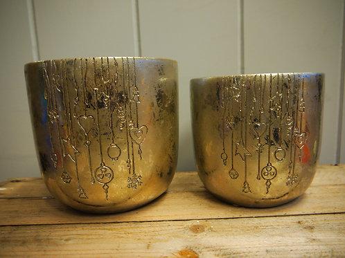 Antique Gold Christmas Pot - Large