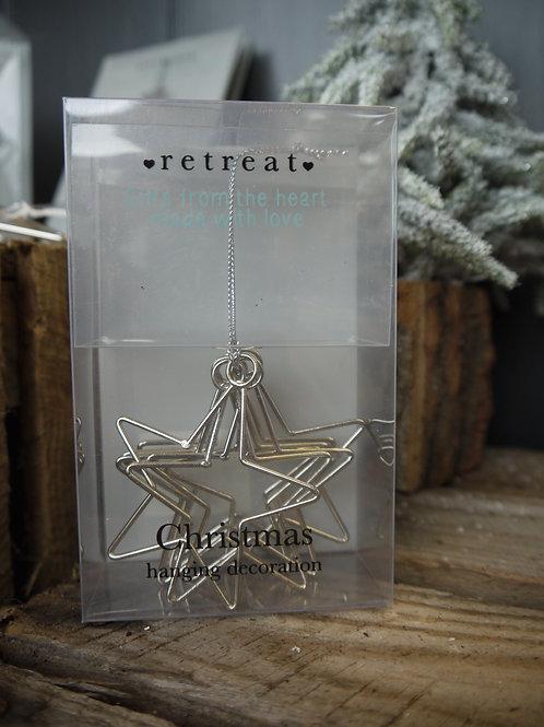 Multi Silver Hanging Star Decoration