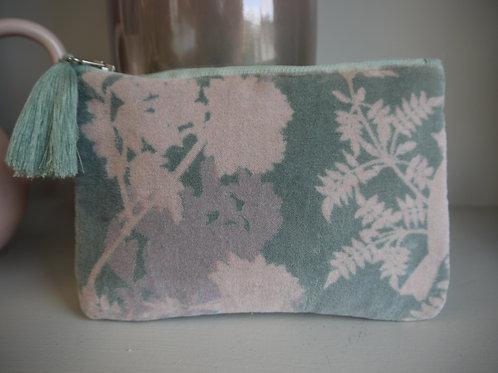 RHS Blue Pink Pastel Velvet Clutch Makeup Bag