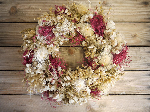 Dried Wreath - Deep pink