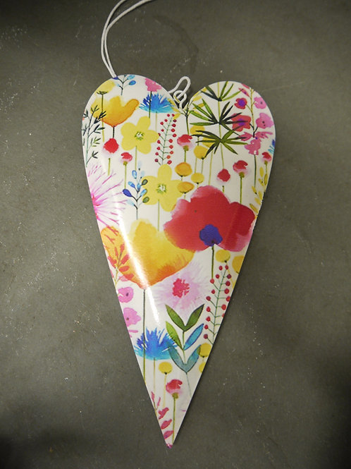 Metal Hanging Heart - Bright Floral