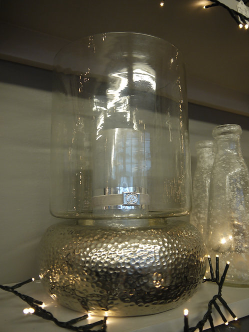 Dimple Metal & Glass Hurricane Lantern
