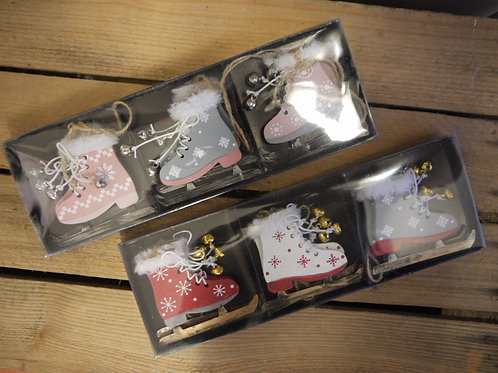 Ice Skater Boots Wooden Dec Boxed set - Pink