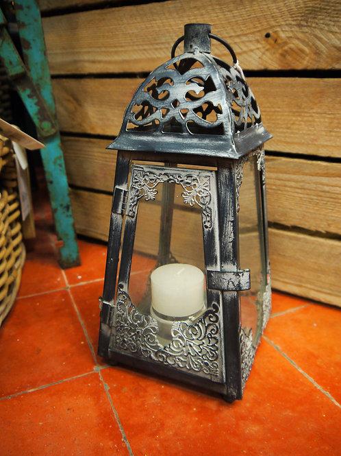 Filigree Metal & Glass Lantern