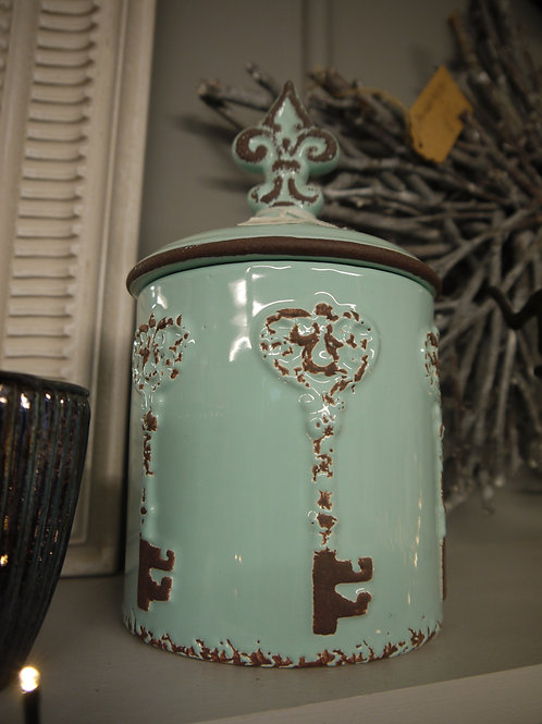 Light Blue Rustic Round Ceramic Key Jar