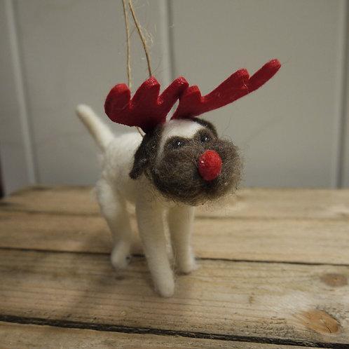 Wool Christmas Animal Decoration - Pierre Pug