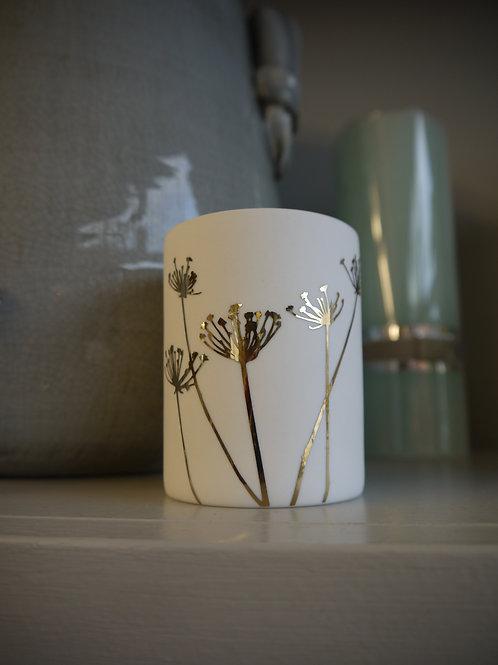 White & Gold Ceramic Tealight Holder