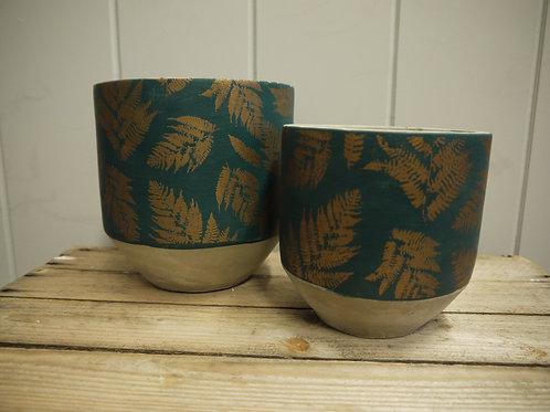 Teal & Gold Concrete Fern Pot - Medium