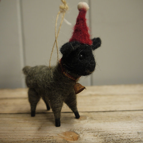 Wool Christmas Animal Decoration - Gertie Goat