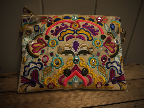 Bright Floral Embroidered Clutch Bag