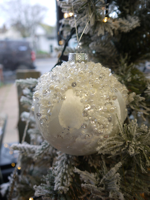 White Glacial Glass Bauble