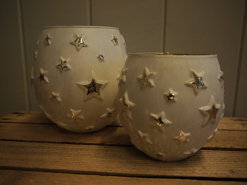 White & Gold Star Glass Candle Holder - Medium