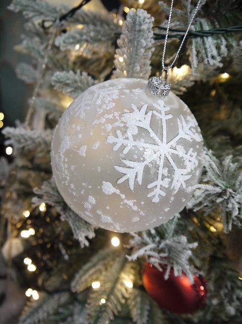 White Snowflake Sparkle Bauble